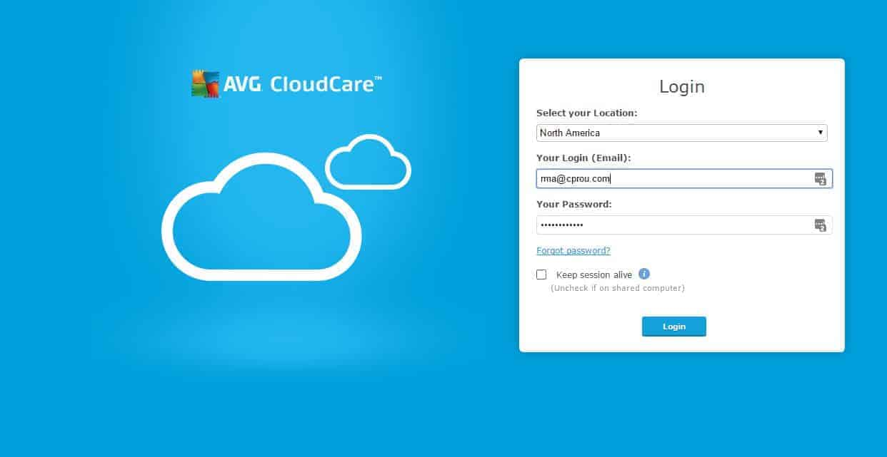 avg cloudcare web interface