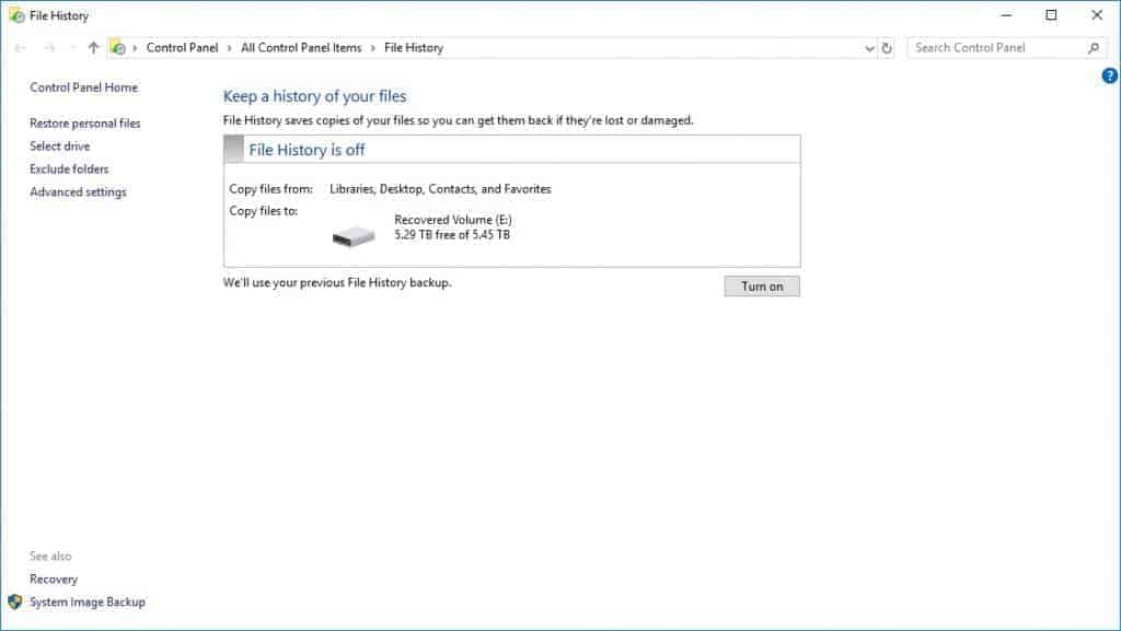 windows 10 file history control panel